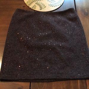 Brown sequin wool skirt
